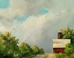 """Take the Road by the Old Barn 11"""" by 14"""" $140"""