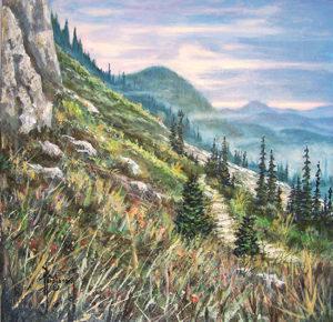"Cascade Mt. Trail Acrylic on Panel 12 x 12"" $320"