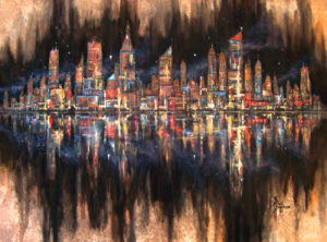 "City Lights Acrylic on Canvas 18 x 24"" $395"