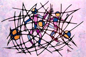 """Dancers II Acrylic on Panel 24 x 36"""" unframed, $750"""