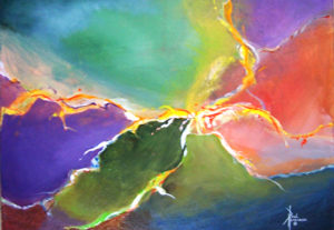 "Emerald Arcs I Acrylic on Canvas 18 x 24"" $295"