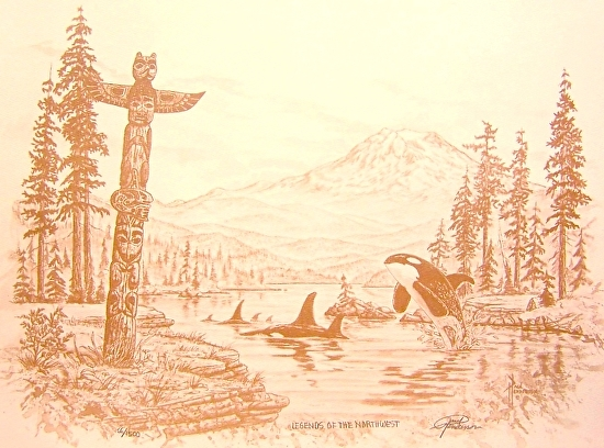 """Legends of the Northwest Coffee Print on Paper 10.75 x 14.25"""" unframed, $37"""