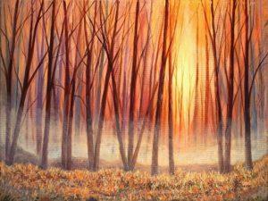 """Misty Autumn Acrylic on Canvas 18"""" x 24"""" unframed $395"""