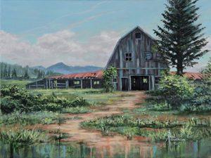 """Pacific City Barn Acrylic on Canvas 12 x 16"""" unframed $380"""