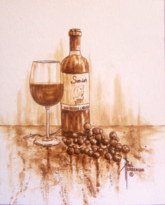 "Saviah Cabernet II coffee on Paper 12 x 9"" unframed $195"