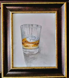 ourbon on the Rocks, Pencil and color wash, 14x12 framed, $140