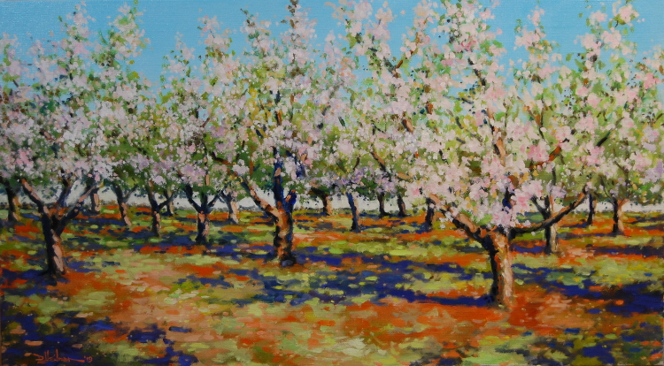 """Spring Morning in an Apple Orchard 20"""" x 36"""" $1500"""