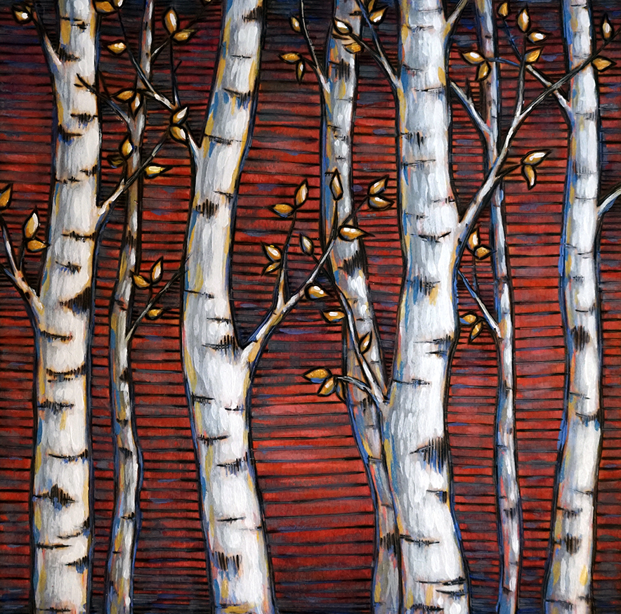 """Aspens on Red Wood Burning and Acrylic Painting Original - 8""""x8""""x1.75"""" Price: $100"""
