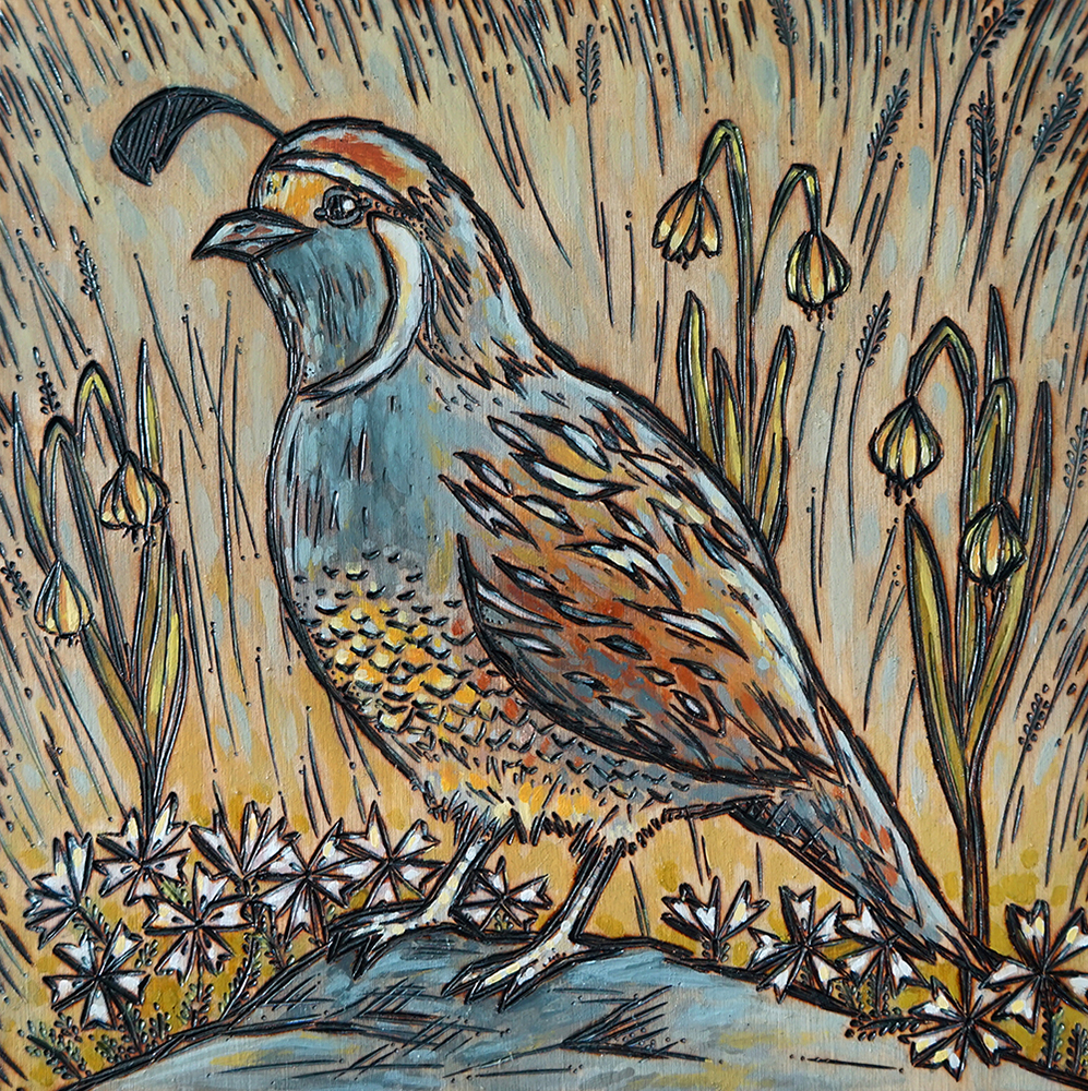 """Quail with Wildflowers Wood Burning and Acrylic Painting Original - 8""""x8""""x1.75"""" Price: $120"""