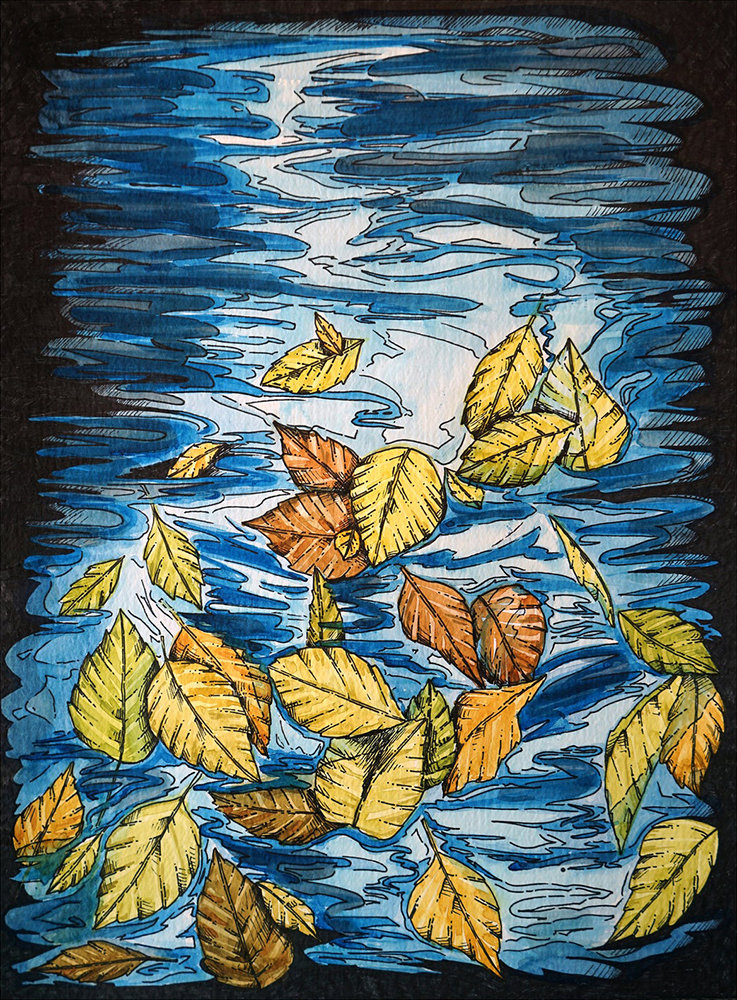 """Leaves on Water Watercolor Painting with Archival Pen Original - 11""""x15"""" Price: $60"""
