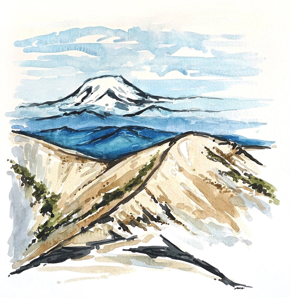 "Mt. Rainier View Watercolor Painting Original - 12""x11"" Price: $45"