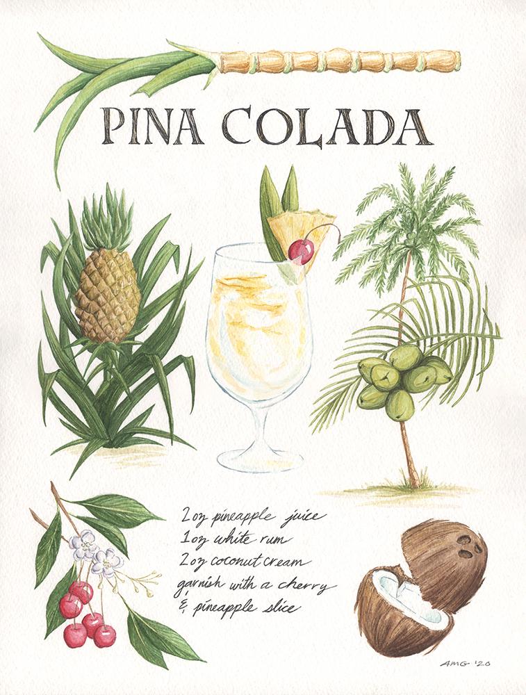 """Pina Colada Botanical Print - 11""""x14"""", 8""""x10"""" Price: $32, $22"""