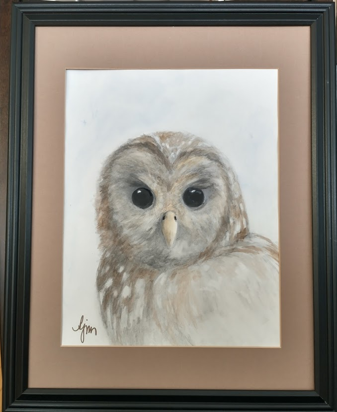 """Cascadian Spotted Owl"""" which is 20 x 16 (OD) framed and priced at $175.00."""