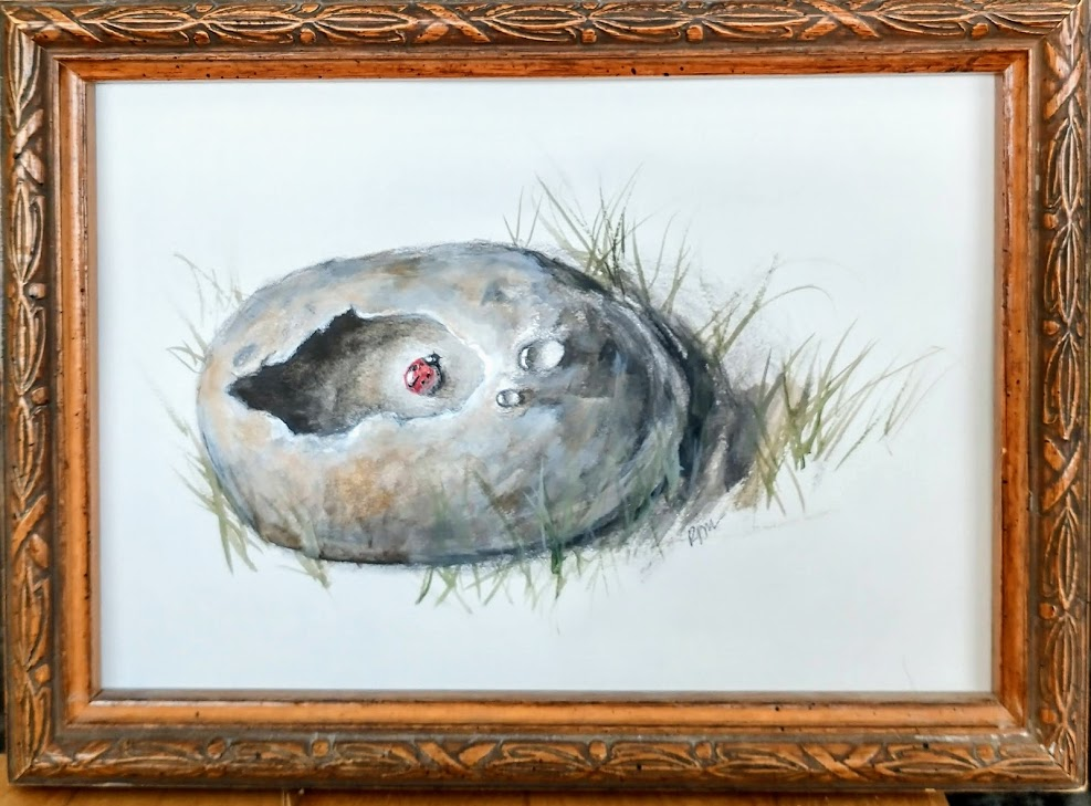 Ladybug 6x8 with frame, Pencil and color wash - $65.00.